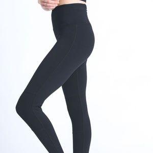 Pants - High Waist Legging with Contrast Knee Cap